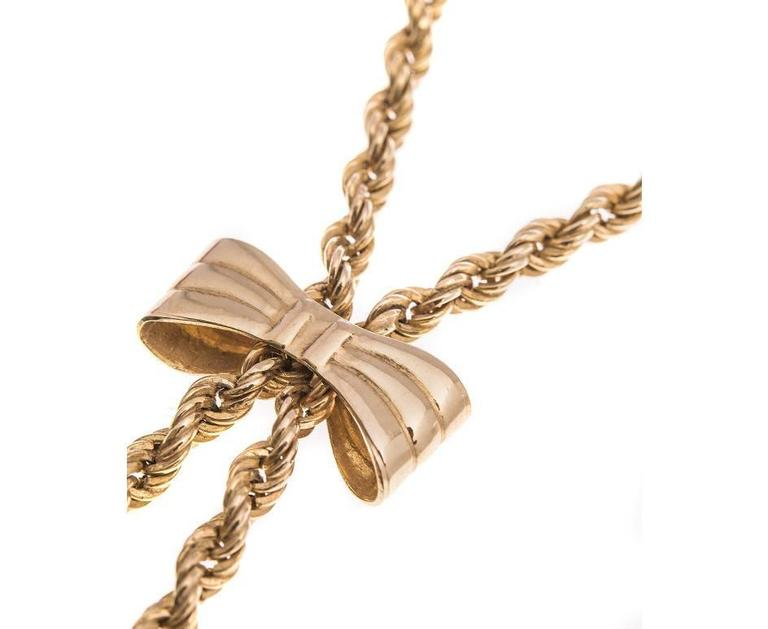 Vintage 1980s 9 Carat Gold Rope and Bow Necklace In Good Condition For Sale In Birmingham, GB