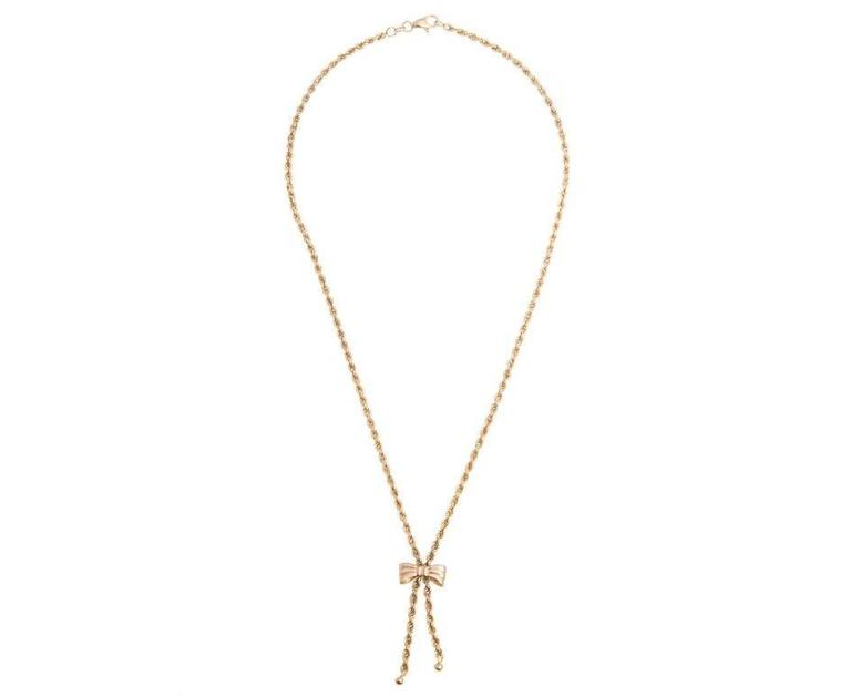 "A pretty 16"" 9ct yellow gold 2.5mm wide rope and bow necklace. A beautiful feminine piece for desk till dusk glamour."