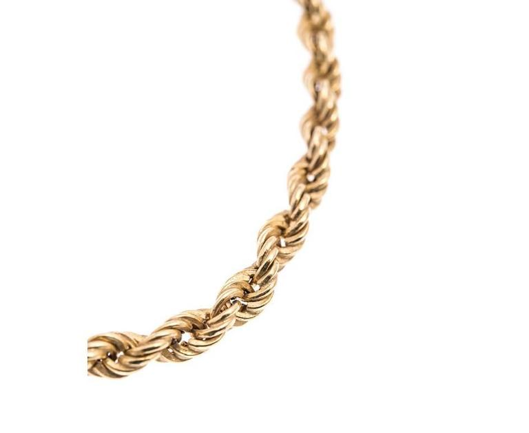 Retro Vintage 1980s 9 Carat Gold Rope and Bow Necklace For Sale