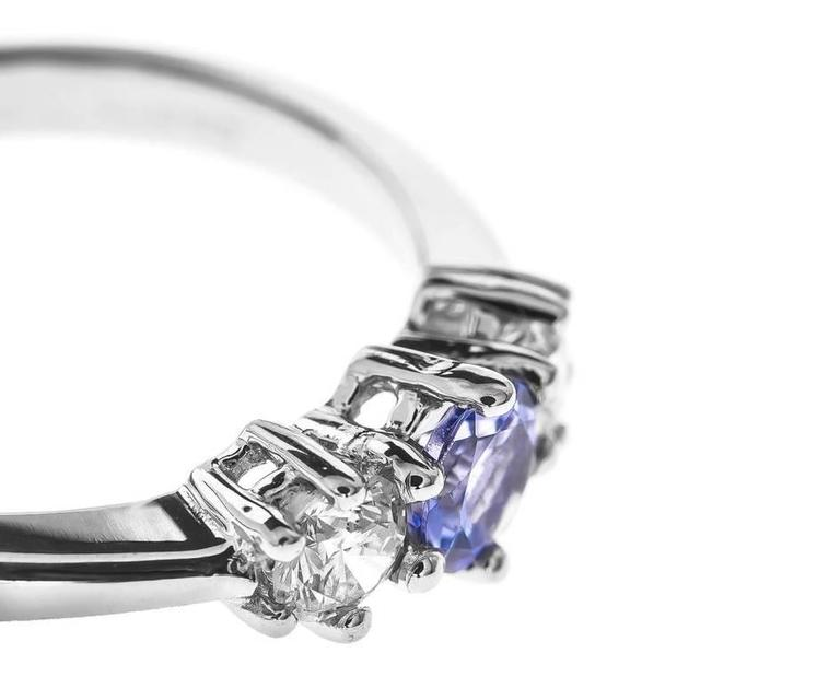 18 Carat White Gold Tanzanite & Diamond Trilogy Ring 2