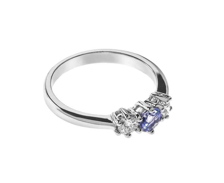 18 Carat White Gold Tanzanite & Diamond Trilogy Ring 3