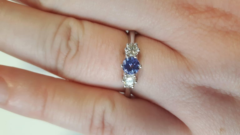 18 Carat White Gold Tanzanite & Diamond Trilogy Ring 4