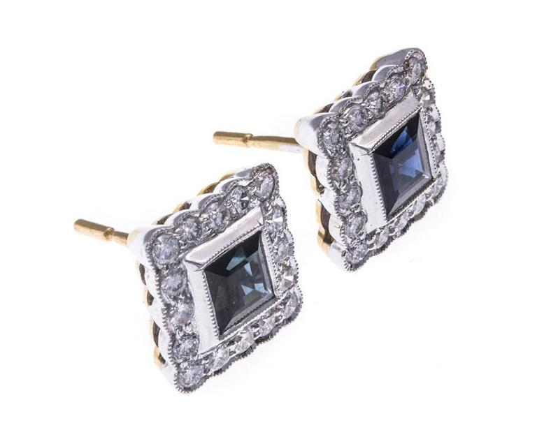 Modern 18 Carat Gold Sapphire and Diamond Square Halo Stud Earrings For Sale