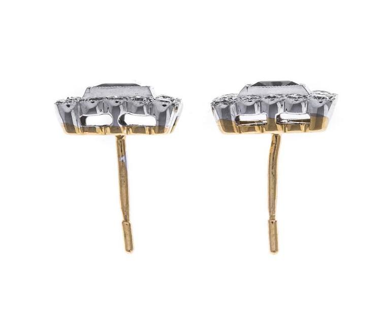 18 Carat Gold Sapphire and Diamond Square Halo Stud Earrings In As New Condition For Sale In Birmingham, GB