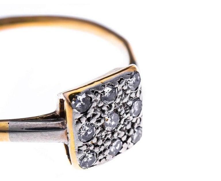 Art Deco 18 Carat Gold and Platinum 0.25 Carat Diamond Cluster Ring 2