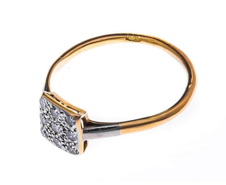 Art Deco 18 Carat Gold and Platinum 0.25 Carat Diamond Cluster Ring 3