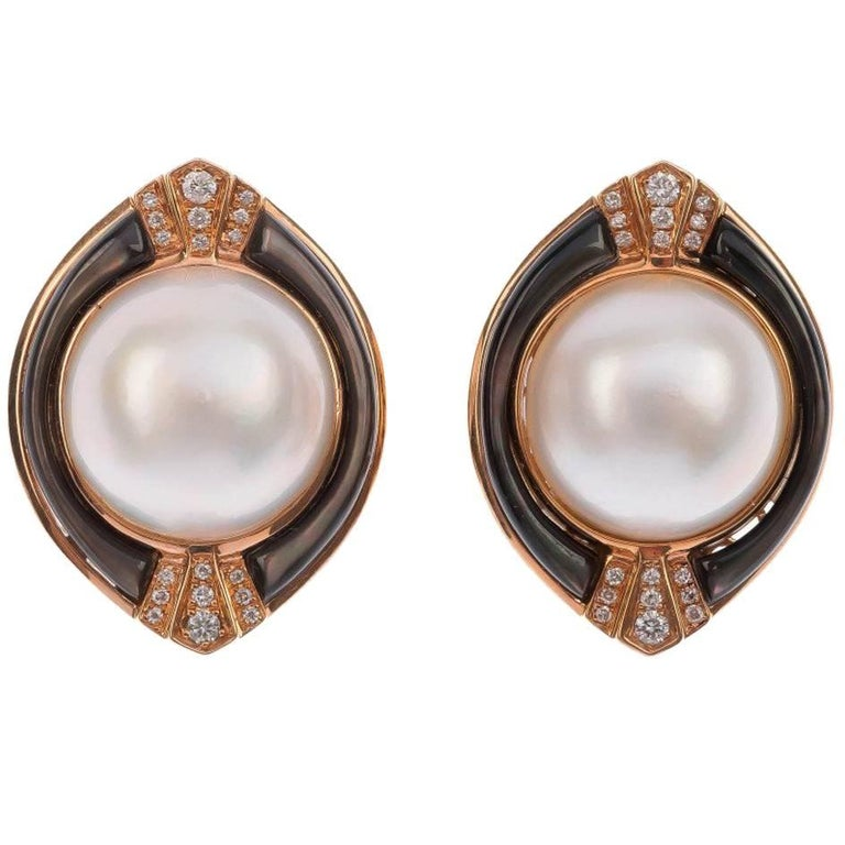18 Carat Rose Gold Mabe Pearl Diamond Earrings For
