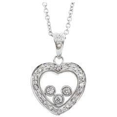 9 Carat White Gold 0.17 Carat Floating Diamond Heart Pendant