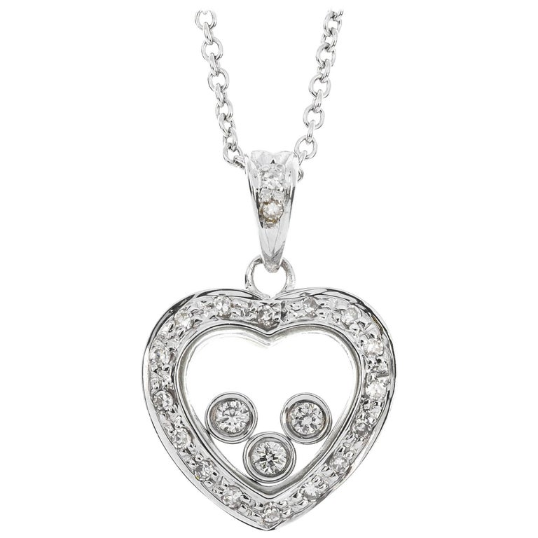 d6672810ac 9 Carat White Gold 0.17 Carat Floating Diamond Heart Pendant For Sale