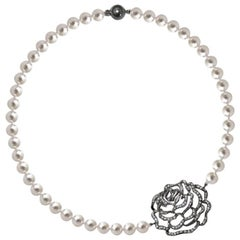 Fei Liu Rose Sterling Silver Pearl Necklace