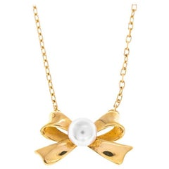 Mikimoto Gold Bow Pearl Necklace