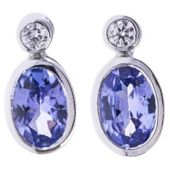 18 Carat White Gold Tanzanite Diamond Earrings
