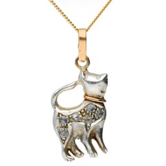 Handcrafted Italian 0.10 Carat Diamond Cat Pendant