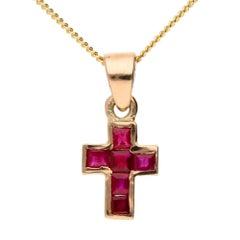 Handcrafted Rose Gold Italian 0.45 Carat Ruby Cross Pendant