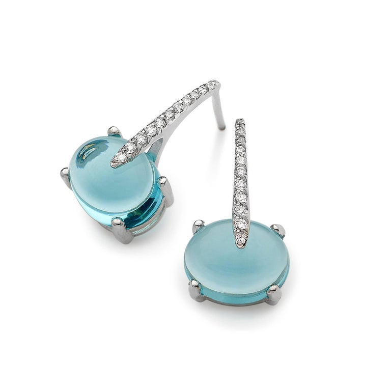 Women's MAVIADA's  Diamond Sardinia Swiss Blue Topaz 18 karat solid white Gold Earrings For Sale