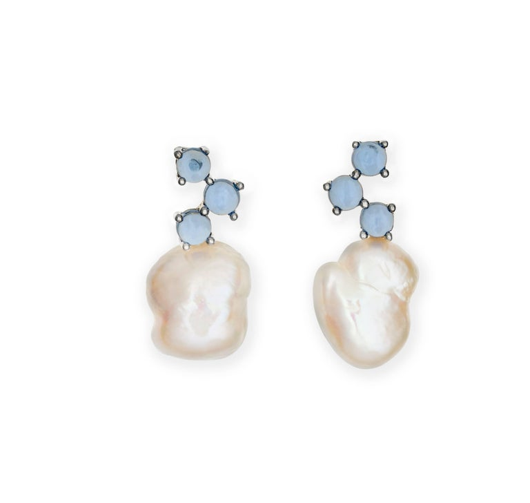 Grey Colour Earrings: Beige White Grey Baroque Pearl Cabochon Pink Colour 18