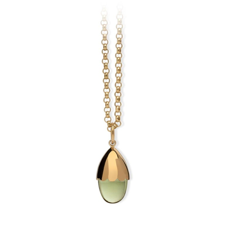 MAVIADA's Comino in Green Amethyst Quartz 18 karat yellow gold Pendant Necklace  For Sale 3
