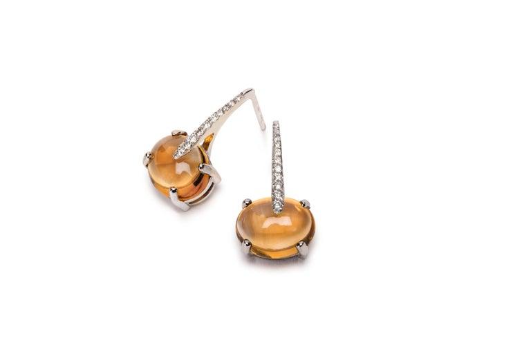 Contemporary MAVIADA's Modern Minimalism Diamond Purple Amethyst 18K White Gold Drop Earrings For Sale