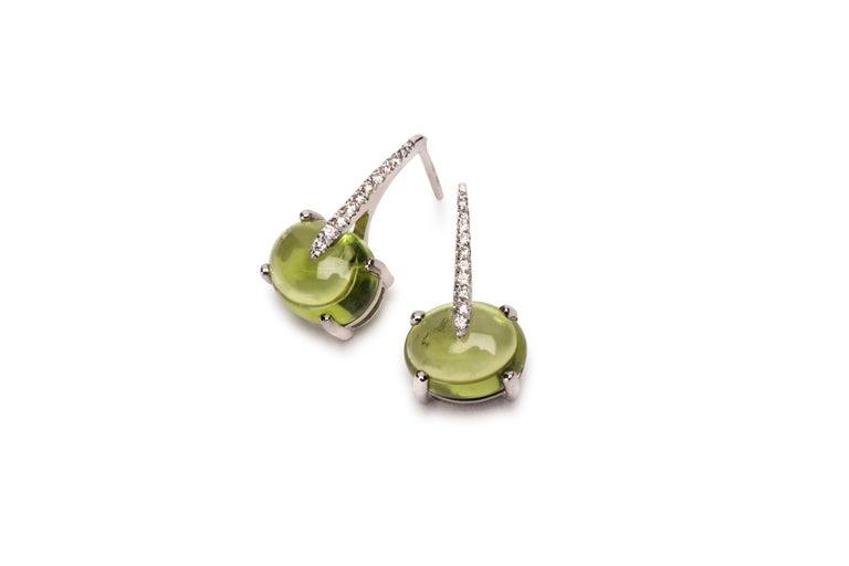 Women's MAVIADA's Modern Minimalism Diamond Purple Amethyst 18K White Gold Drop Earrings For Sale