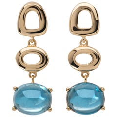 MAVIADA's Modern Minimalism St Tropez Blue Topaz 18K Yellow Gold Drop Earrings