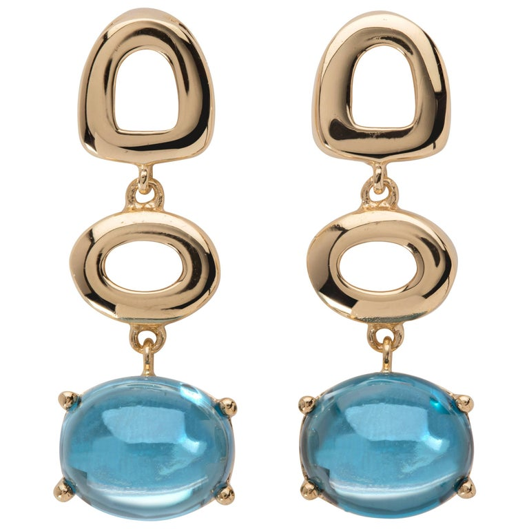 MAVIADA's Modern Minimalism St Tropez Blue Topaz 18K Yellow Gold Drop Earrings For Sale