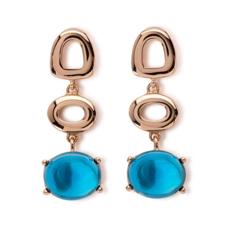 MAVIADA's Modern Minimalism St Tropez Blue Topaz 18K Yellow Gold Drop Earrings For Sale 1