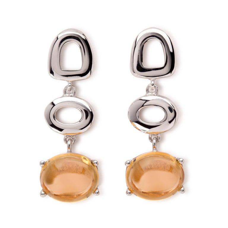 MAVIADA's Modern Minimalism St Tropez Blue Topaz 18K Yellow Gold Drop Earrings For Sale 5