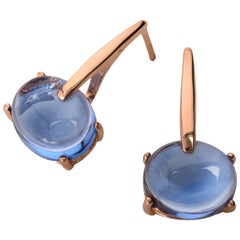 18 Karat Gold Tanzanite Blue Vermeil Quartz, Sardinia Drop Long Chic Earrings