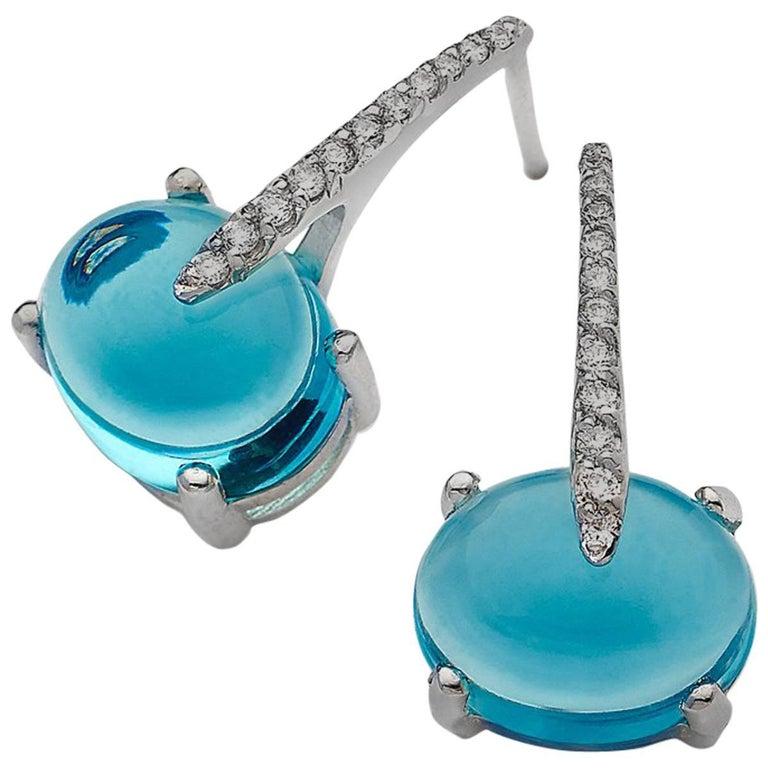 Contemporary MAVIADA's Diamond Sardinia Sky Blue Topaz 18 Karat White Gold Drop Day Earrings For Sale