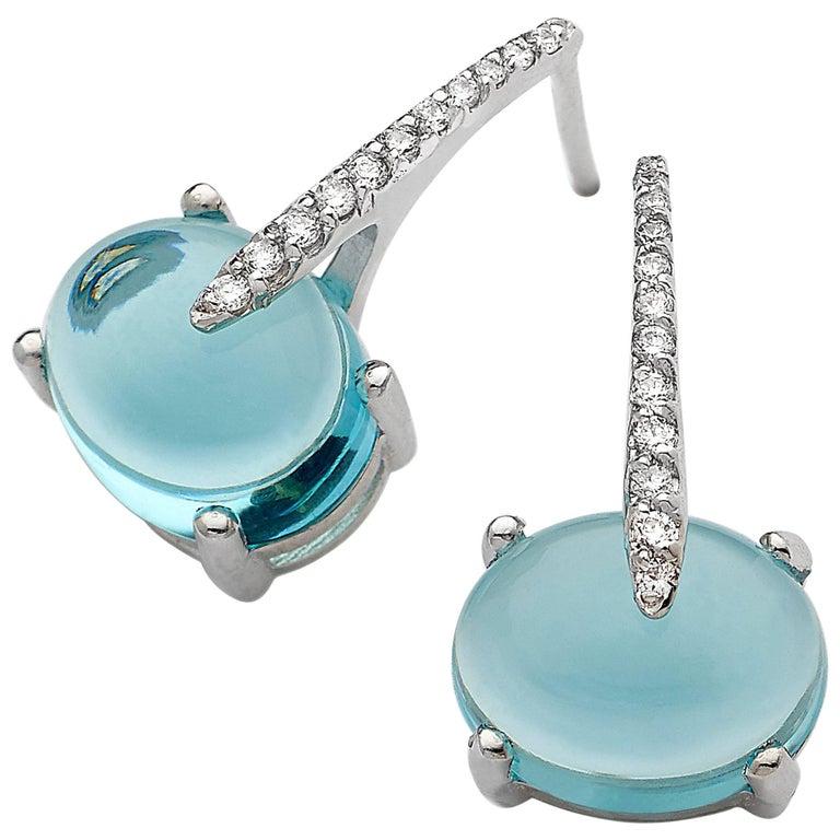 Contemporary MAVIADA's Diamond Sardinia Swiss Blue Topaz 18 Karat White Gold Drop Earrings For Sale