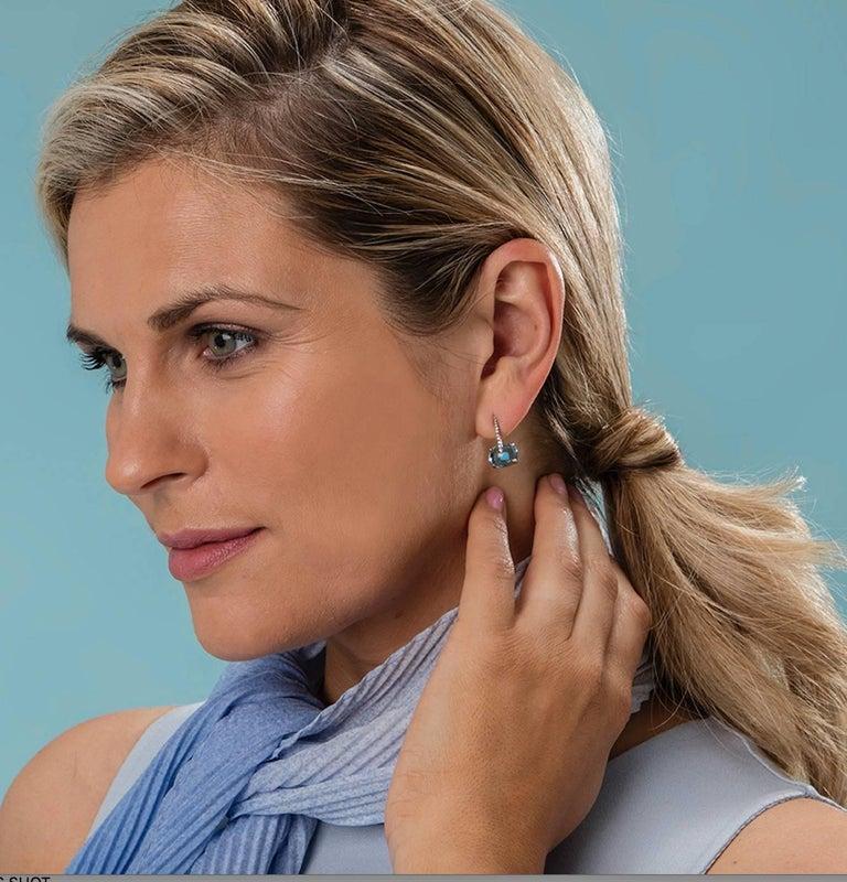 MAVIADA's Diamond Sardinia Swiss Blue Topaz 18 Karat White Gold Drop Earrings In New Condition For Sale In , GB