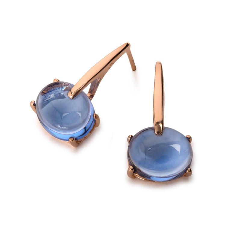 MAVIADA's 18 Karat Rose Gold Vermeil Pink Tourmaline Quartz, Gold Drop Earrings 2