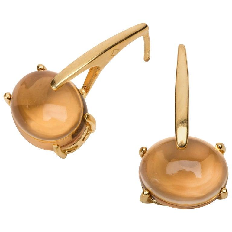 18 Karat Rose Gold Vermeil Champagne Quartz, Gold Drop Long Modern Earrings