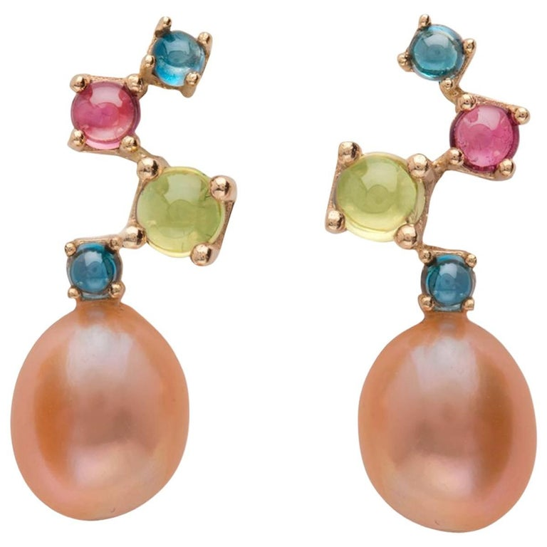 Pink Baroque Pearl Blue Green Pink 18 Karat Solid Gold Drop Classic Earrings For Sale