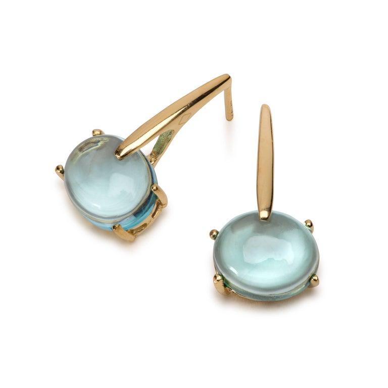 Maviada's 18 Karat Yellow Gold Vermeil Blue Tanzanite Quartz, Gold Long Earrings In New Condition In , GB