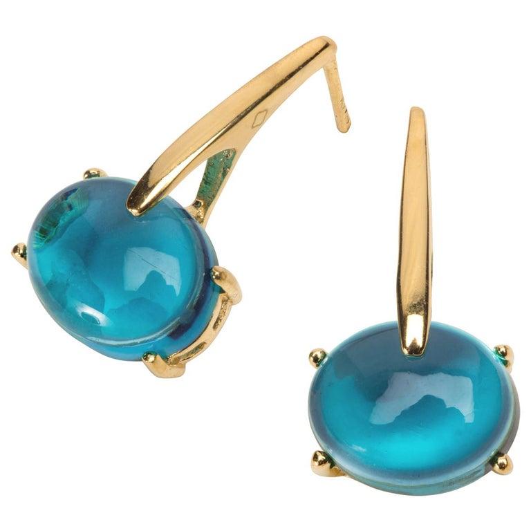 Maviada's 18 Karat Yellow Gold Vermeil Blue Tanzanite Quartz, Gold Long Earrings 1