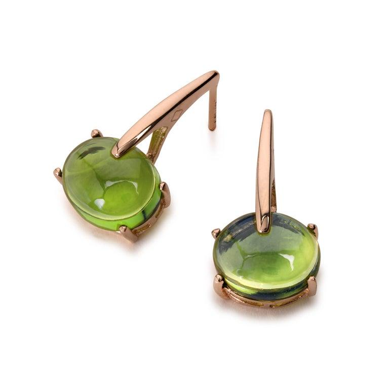Maviada's 18 Karat Rose Gold Vermeil Green Peridot Quartz, Gold Long Earrings 8