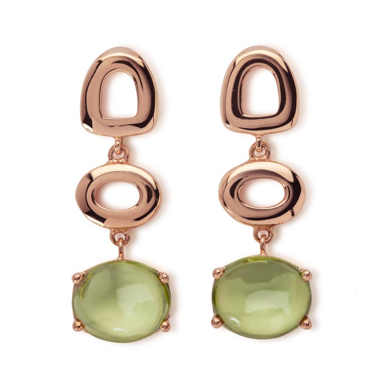 Maviada's St Tropez Green Peridot 18 Karat Yellow Gold Drop Long Earrings For Sale 7