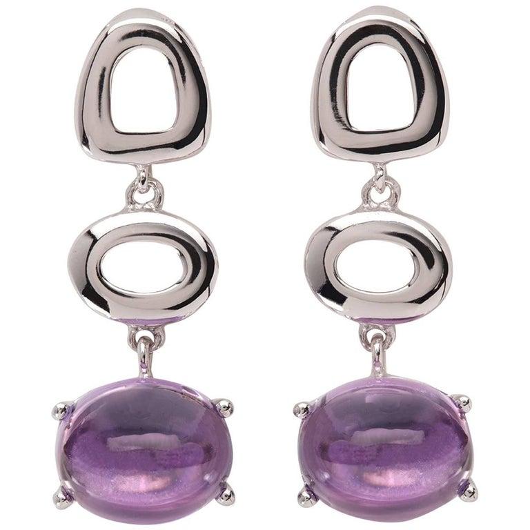 Maviada's St Tropez Purple Amethyst 18 Karat Yellow Gold Drop Long Earrings For Sale 3