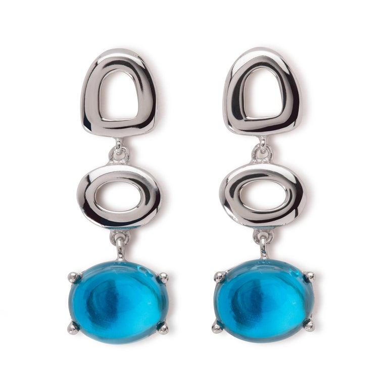 Women's Maviada's St Tropez Swiss Blue Topaz 18 Karat White Gold Drop Long Earrings For Sale