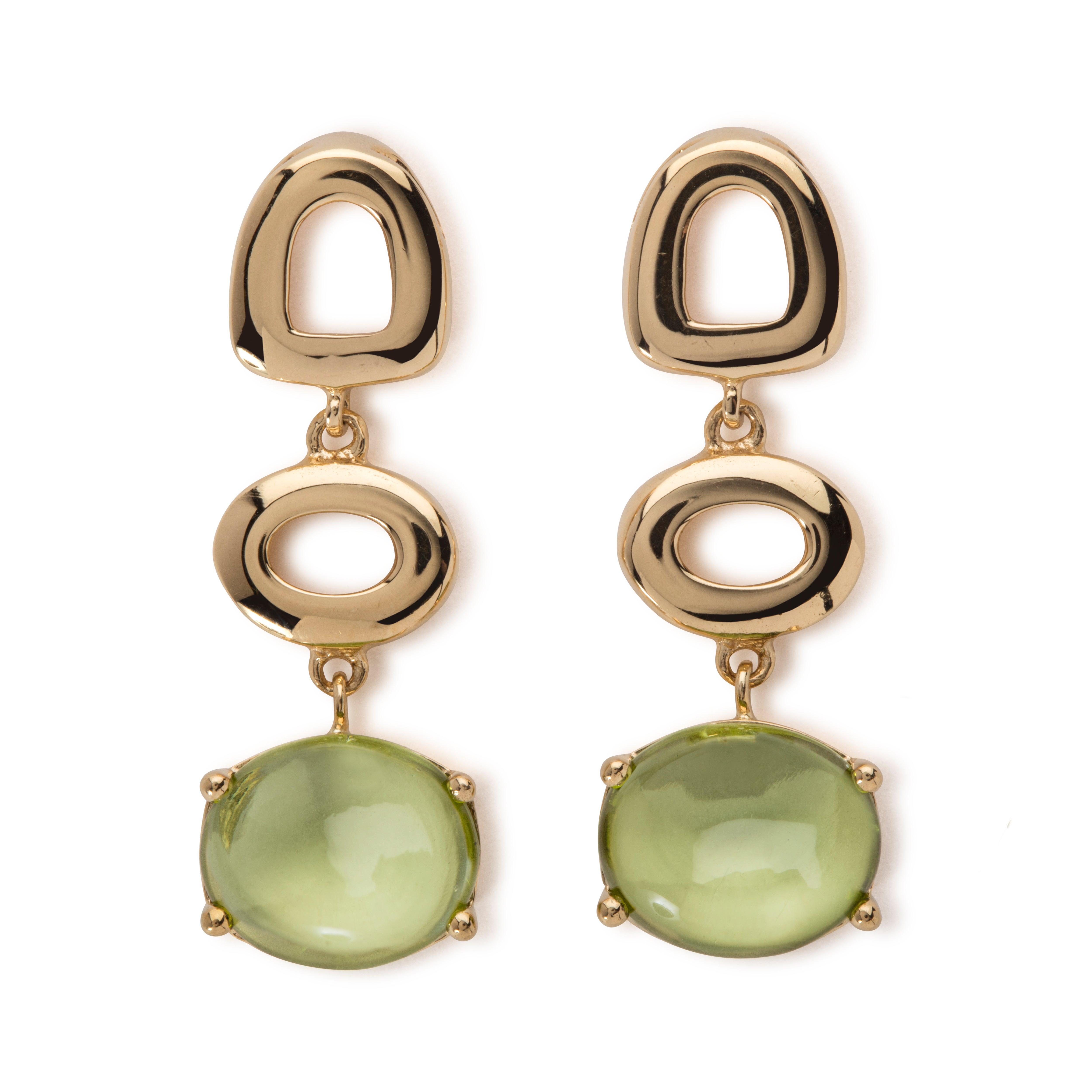 Maviada S St Tropez Green Peridot 18 Karat White Gold Drop Long Earrings For At 1stdibs