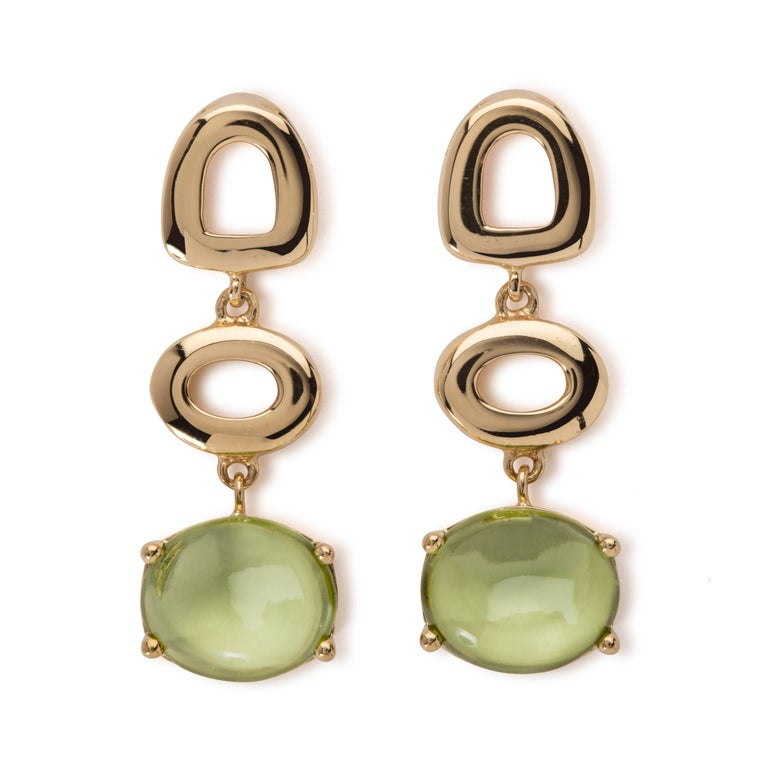 Maviada's St Tropez Green Peridot 18 Karat White Gold Drop Long Earrings For Sale 3