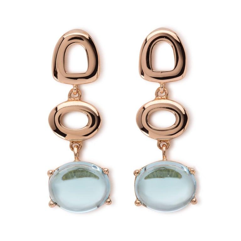 Women's Maviada's St Tropez Sky Blue Topaz 18 Karat Yellow Gold Drop Long Earrings For Sale
