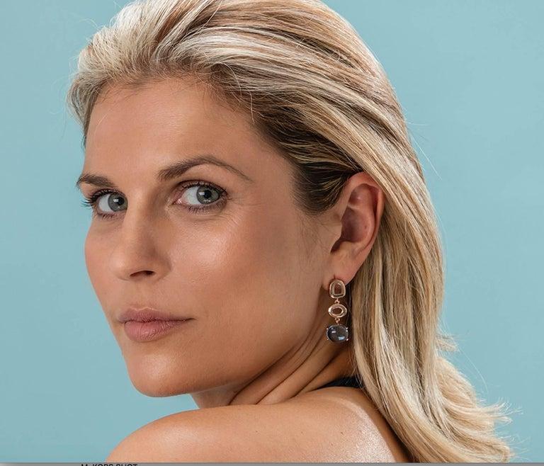 Contemporary Maviada's St Tropez Sky Blue Topaz 18 Karat Yellow Gold Drop Long Earrings For Sale