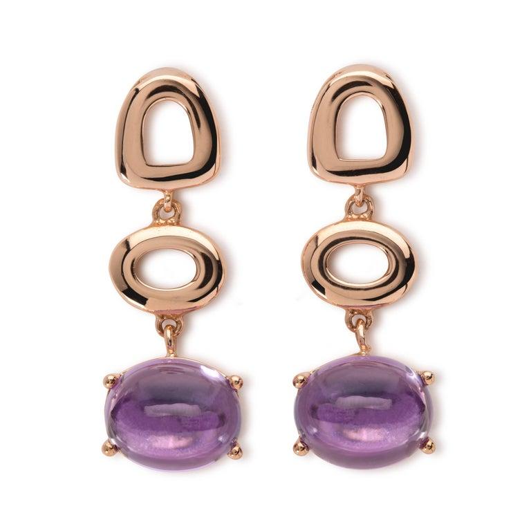 Maviada's St Tropez London Purple Amethyst 18 Karat Rose Gold Drop Long Earrings For Sale 8