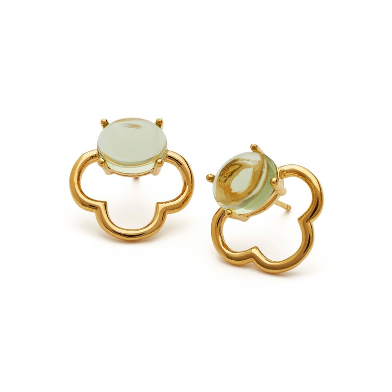 Contemporary MAVIADA's 18k Vermeil Capri Rose Gold Pink Tourmaline quartz Stud Drop Earrings For Sale