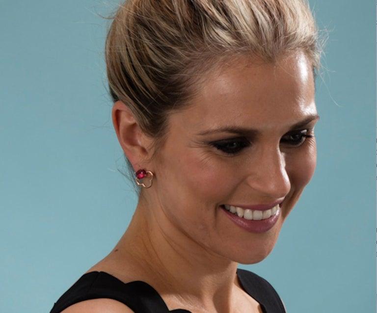 Women's MAVIADA's 18k Vermeil Capri Rose Gold Pink Tourmaline quartz Stud Drop Earrings For Sale