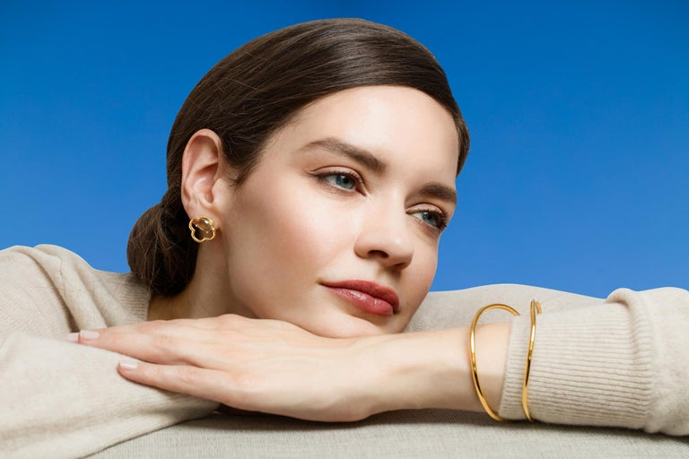 MAVIADA's 18k Vermeil Capri Rose Gold Pink Tourmaline quartz Stud Drop Earrings For Sale 2