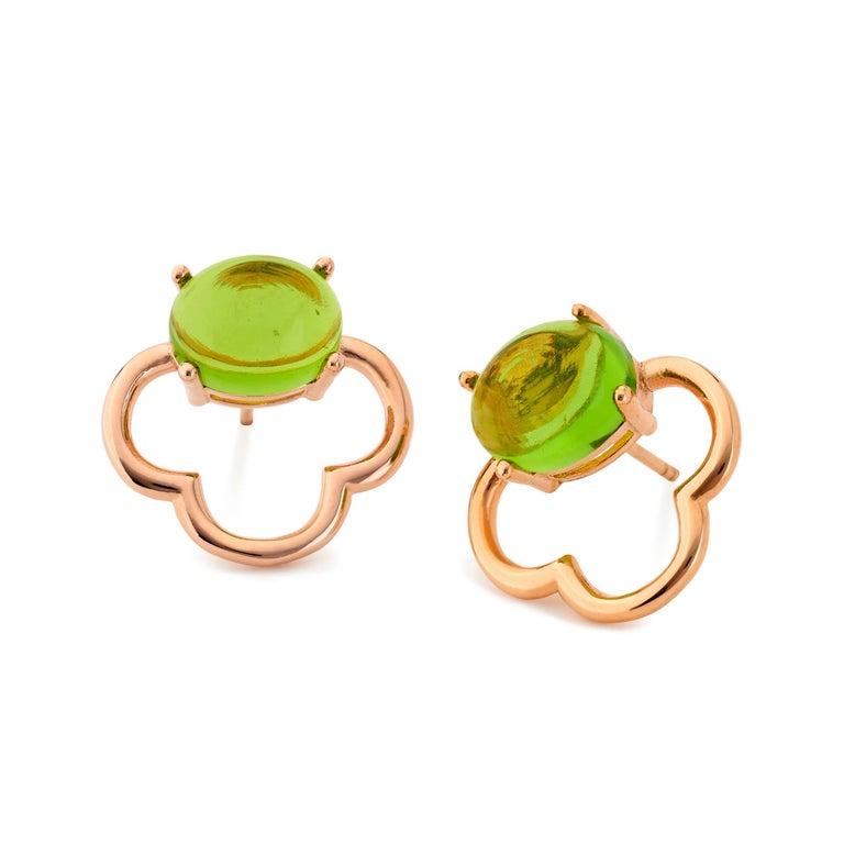 MAVIADA's 18k Vermeil Capri Rose Gold Pink Tourmaline quartz Stud Drop Earrings For Sale 6