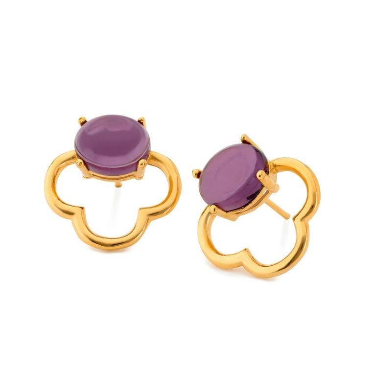 MAVIADA's 18k Vermeil Capri Rose Gold Pink Tourmaline quartz Stud Drop Earrings For Sale 7